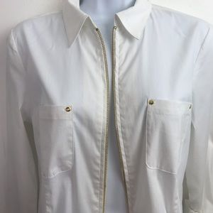 Anne Klein Size S Zipper roll up sleeves blouse